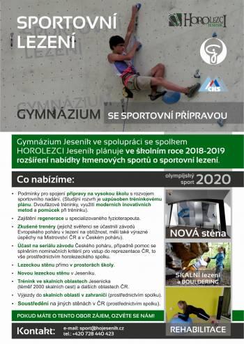 Sportovní gymnázium - SPORTOVNÍ LEZENÍ